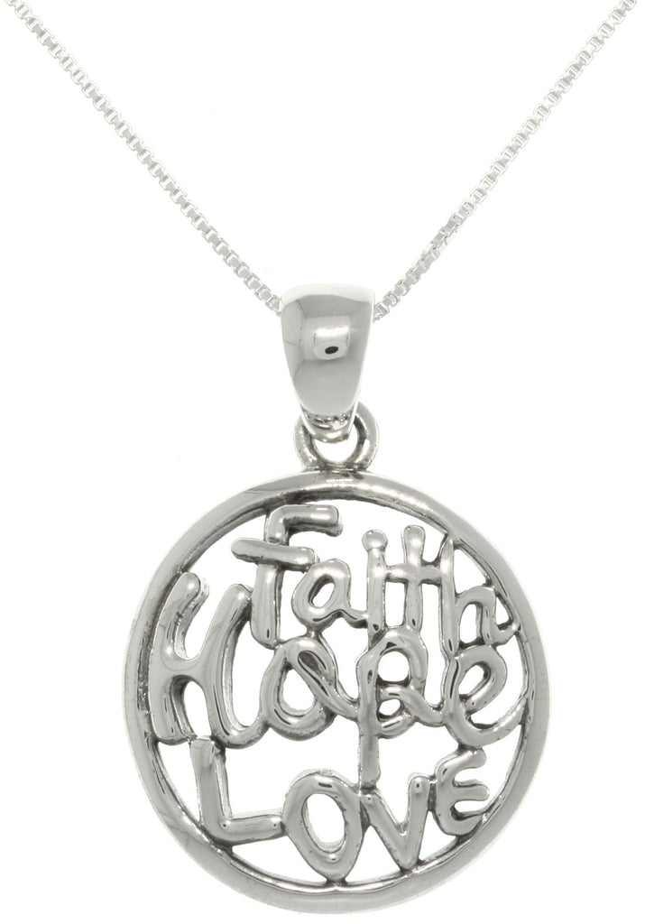 Jewelry Trends Sterling Silver Round 'Faith Hope Love' Pendant with 18 Inch Box Chain Necklace
