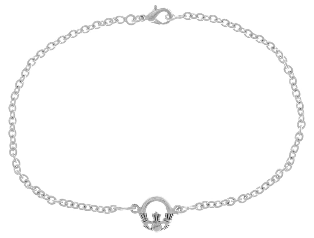 Jewelry Trends Silver Plated Bronze Celtic Irish Claddagh Heart in Hands Stationary Charm 9 Inch Anklet