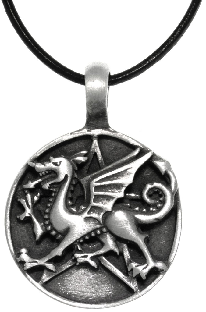 Jewelry Trends Pewter Dragon Star Round Medallion Pendant on Black Leather Necklace