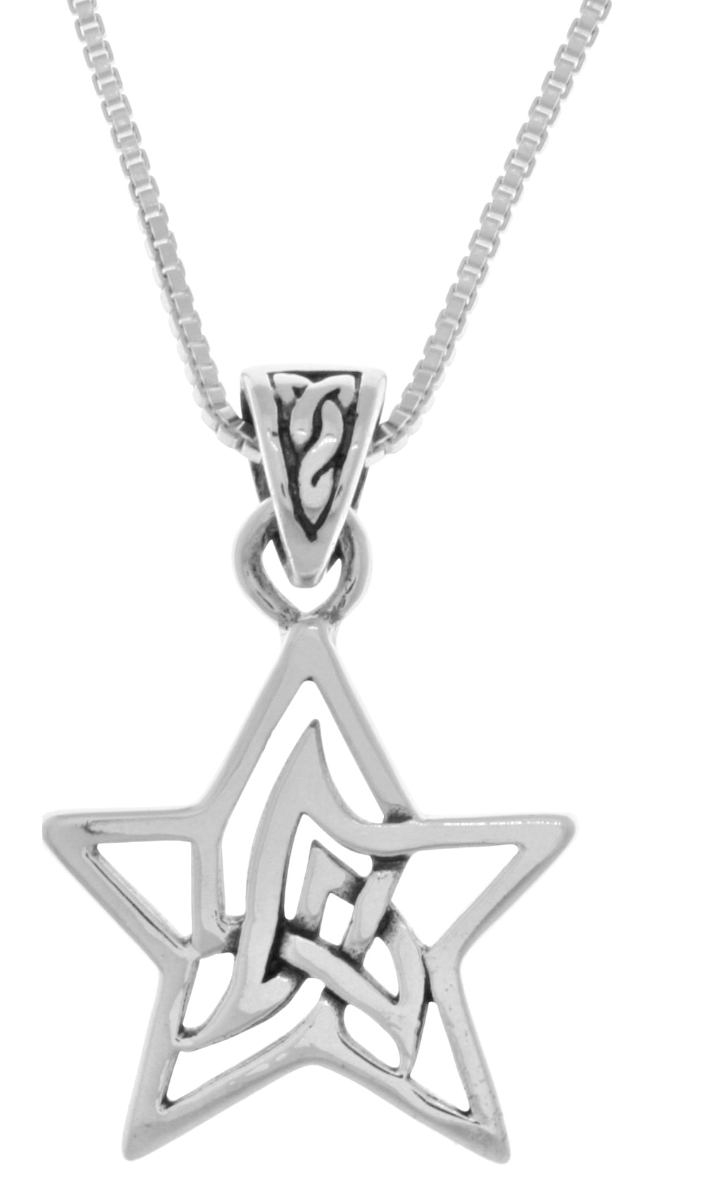 Jewelry Trends Sterling Silver Small Celtic Star Pendant on 18 Inch Box Chain Necklace