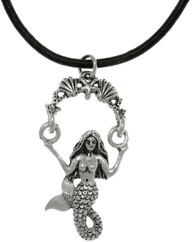 Jewelry Trends Pewter Beautiful Mermaid Sea Life Swing Pendant on 18 inch Black Leather Necklace