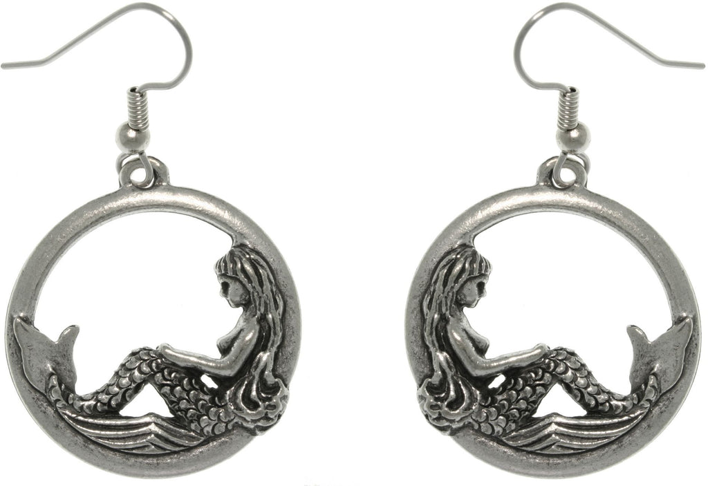 Jewelry Trends Pewter Beautiful Mermaid on Waves Round Hoop Dangle Earrings