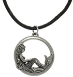 Jewelry Trends Pewter Beautiful Mermaid Round Pendant on 18 Inch Black Leather Cord Necklace