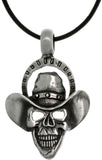 Jewelry Trends Pewter Skull with Cowboy Hat Pendant on Black Leather Cord Necklace