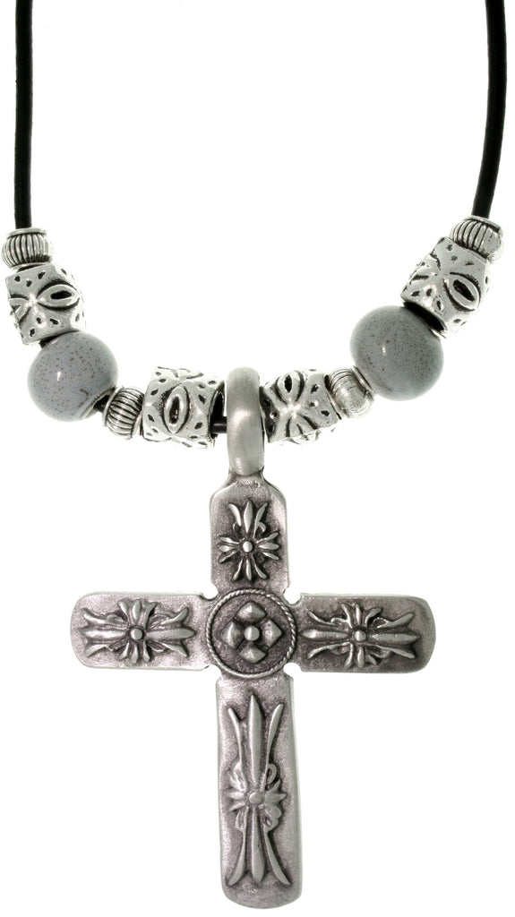 Jewelry Trends Pewter Men's Cross and Glazed Porcelain Bead Necklace