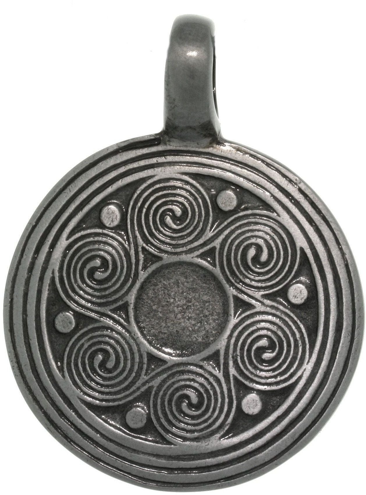 Jewelry Trends Pewter Celtic Spiral Waves Unisex Mediallion Pendant