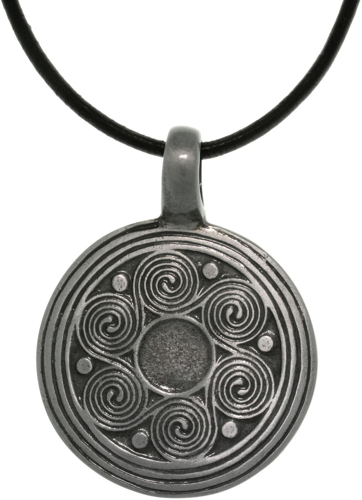 Jewelry Trends Pewter Celtic Spiral Waves Pendant on 18 Inch Black Leather Cord Necklace