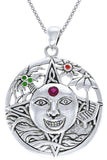Jewelry Trends Sterling Silver Summer Sun Face Celtic Mediallion Pendant with Colored Stones on 18 Inch Box Chain Necklace