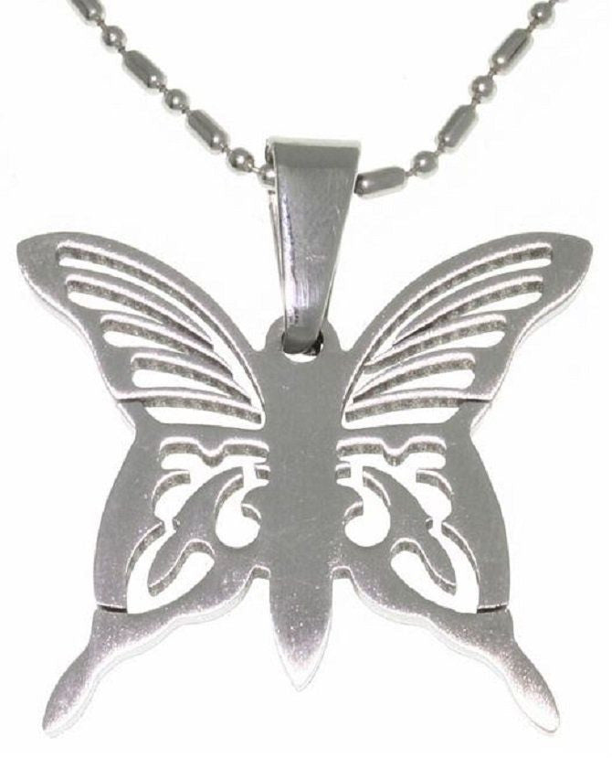 Jewelry Trends 316L Surgical Stainless Steel Laser Etched Butterfly Pendant with 20 Inch Ball Chain Necklace