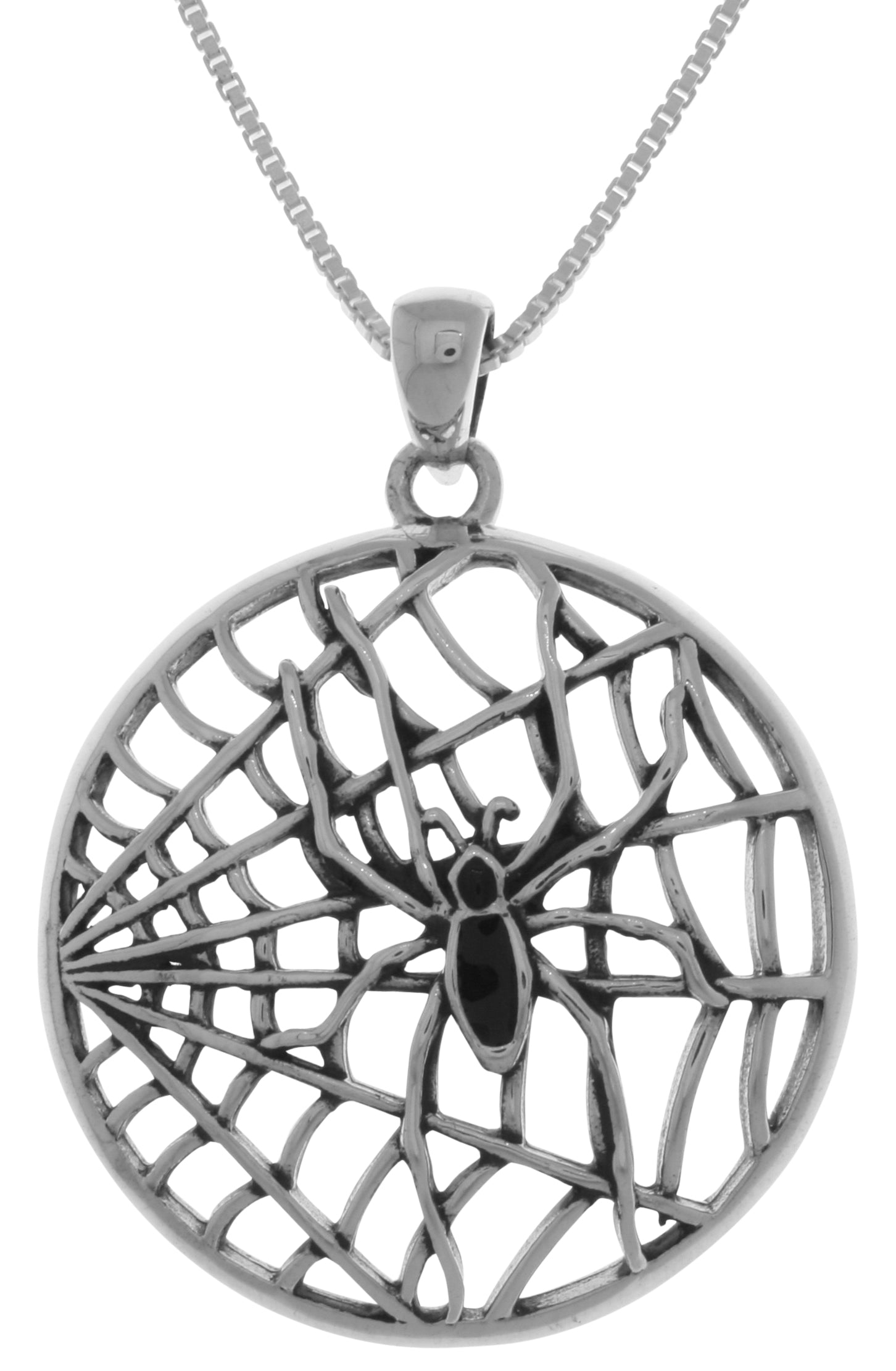 Jewelry Trends Sterling Silver Black Spider on Round Web Pendant on 18 Inch Box Chain Necklace
