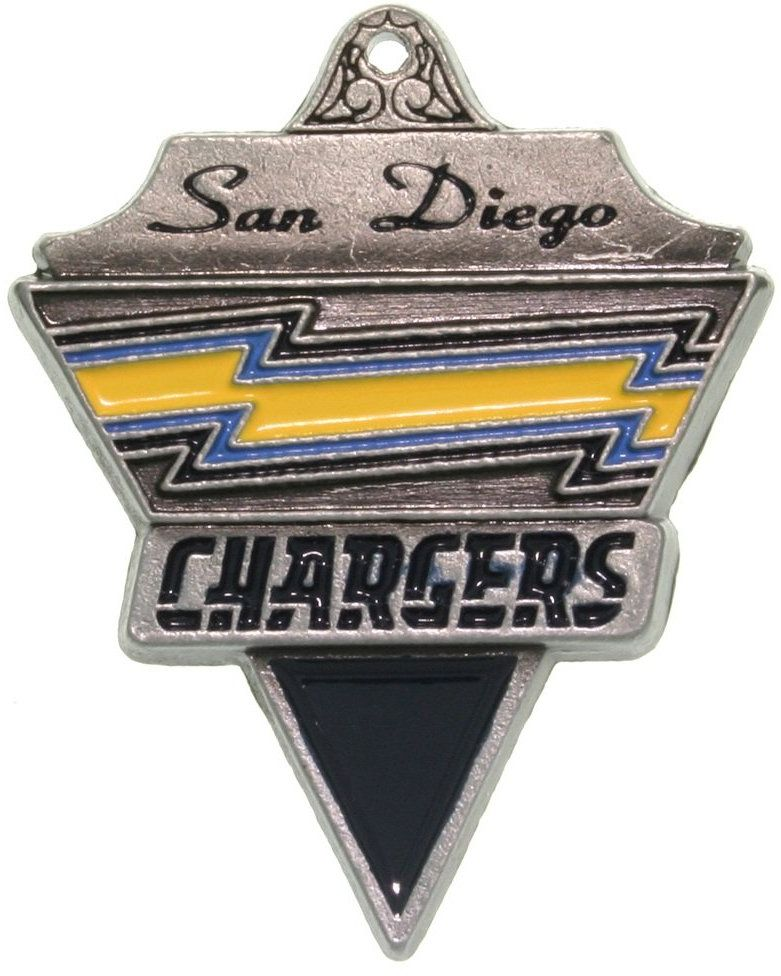 Jewelry Trends Pewter San Diego Chargers NFL Pennant Pendant on Black Leather Necklace