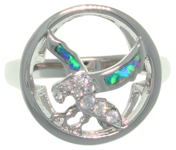 Jewelry Trends Sterling Silver Created Opal and CZ Southwestern Eagle In Flight Ring Whole Sizes 6 - 11