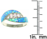 Jewelry Trends Sterling Silver Created Blue Opal and Dazzling Clear Cubic Zirconia Ring Whole Sizes 5 - 10