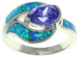 Jewelry Trends Sterling Silver Created Blue Opal and Purple Cubic Zirconia Teardrop Embrace Ring Whole Sizes 5 - 10