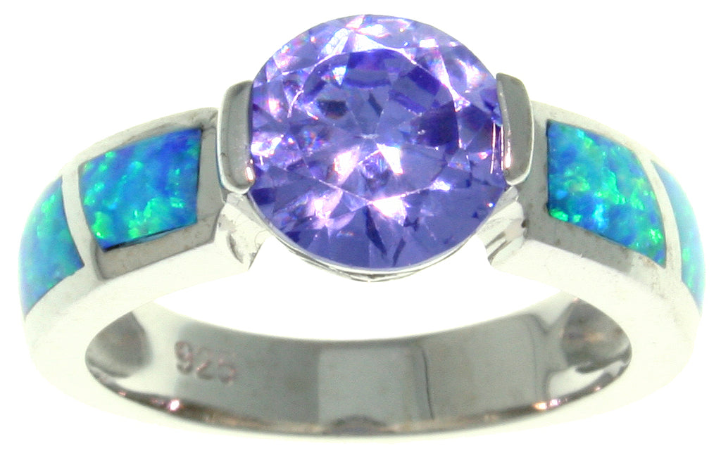 Jewelry Trends Sterling Silver Created Blue Opal and Purple Cubic Zirconia Sparkling Sphere Ring Whole Sizes 5 - 10