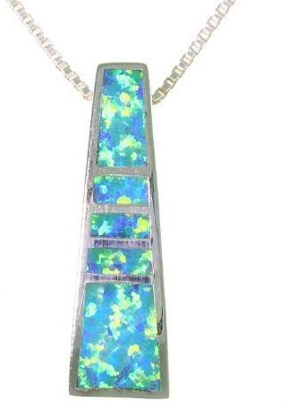 Jewelry Trends Sterling Silver Created Blue Opal Obelisk Pendant with 18 Inch Box Chain Necklace