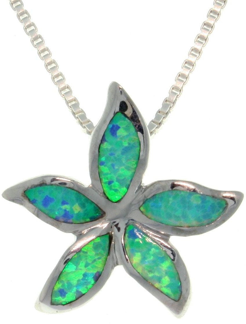 Jewelry Trends Sterling Silver Created Blue Opal Starfish Pendant with 18 Inch Box Chain Necklace