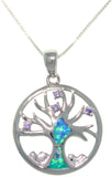 Jewelry Trends Sterling Silver Created Opal and CZ Tree of Life Pendant with 18 Inch Box Chain Necklace