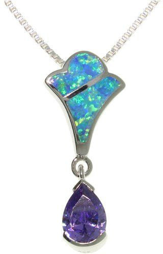Jewelry Trends Sterling Silver Created Blue Opal and Royal Purple Cubic Zirconia Teardrop Pendant with 18 Inch Box Chain Necklace