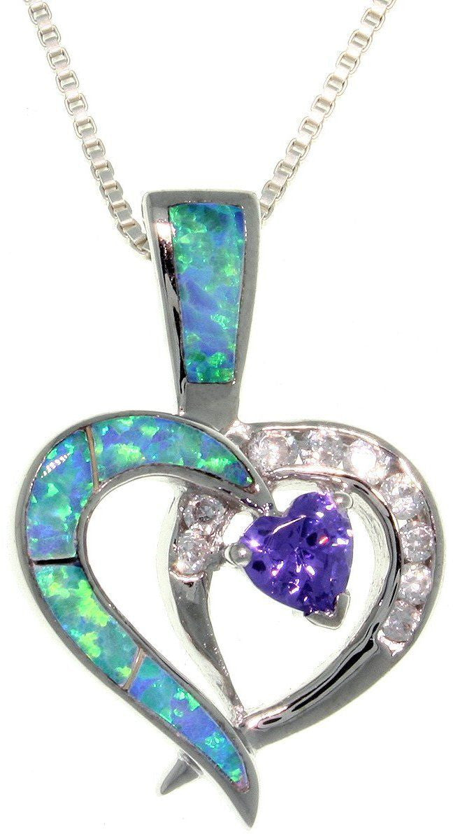 Jewelry Trends Sterling Silver Created Blue Opal Double Heart Pendant with Clear and Amethyst Purple CZ on 18 Inch Box Chain Necklace