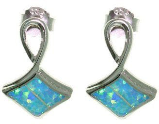 Jewelry Trends Sterling Silver Lab Created Blue Fire Opal Post Earrings