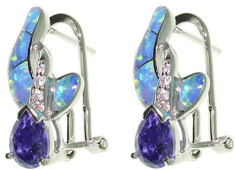 Jewelry Trends Sterling Silver Created Blue Opal and Clear and Purple Cubic Zirconia Crossover Earrings