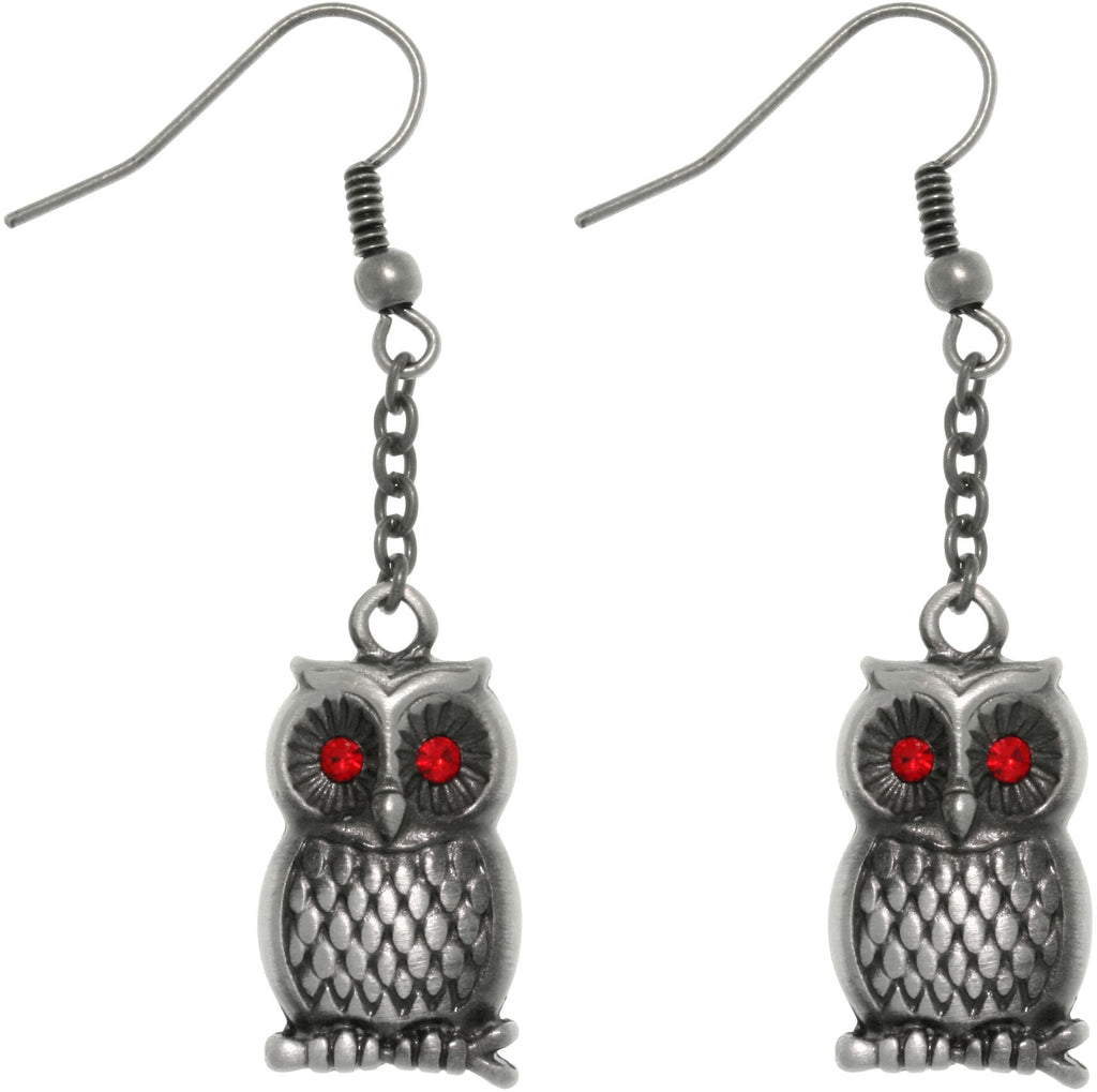 Jewelry Trends Pewter Barn Owl with Red Crystal Rhinestone Eyes Chain Dangle Earrings