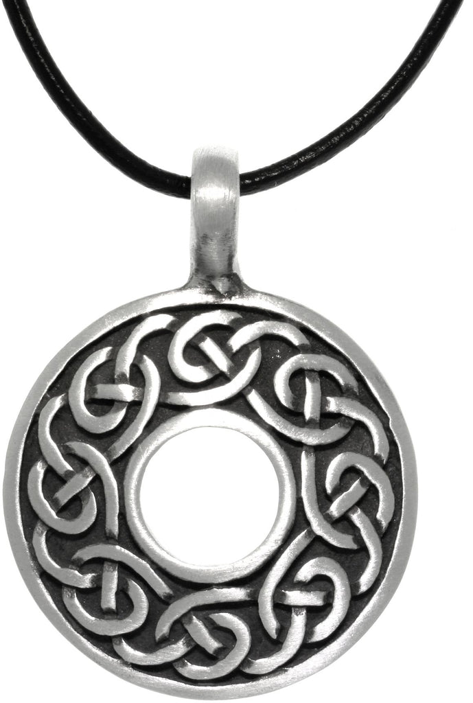 Jewelry Trends Pewter Celtic Knot Round Ring Pendant on Black Leather Necklace