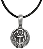 Jewelry Trends Pewter Egyptian Ankh Cross with Wings Long Life Pendant on Black Leather Necklace