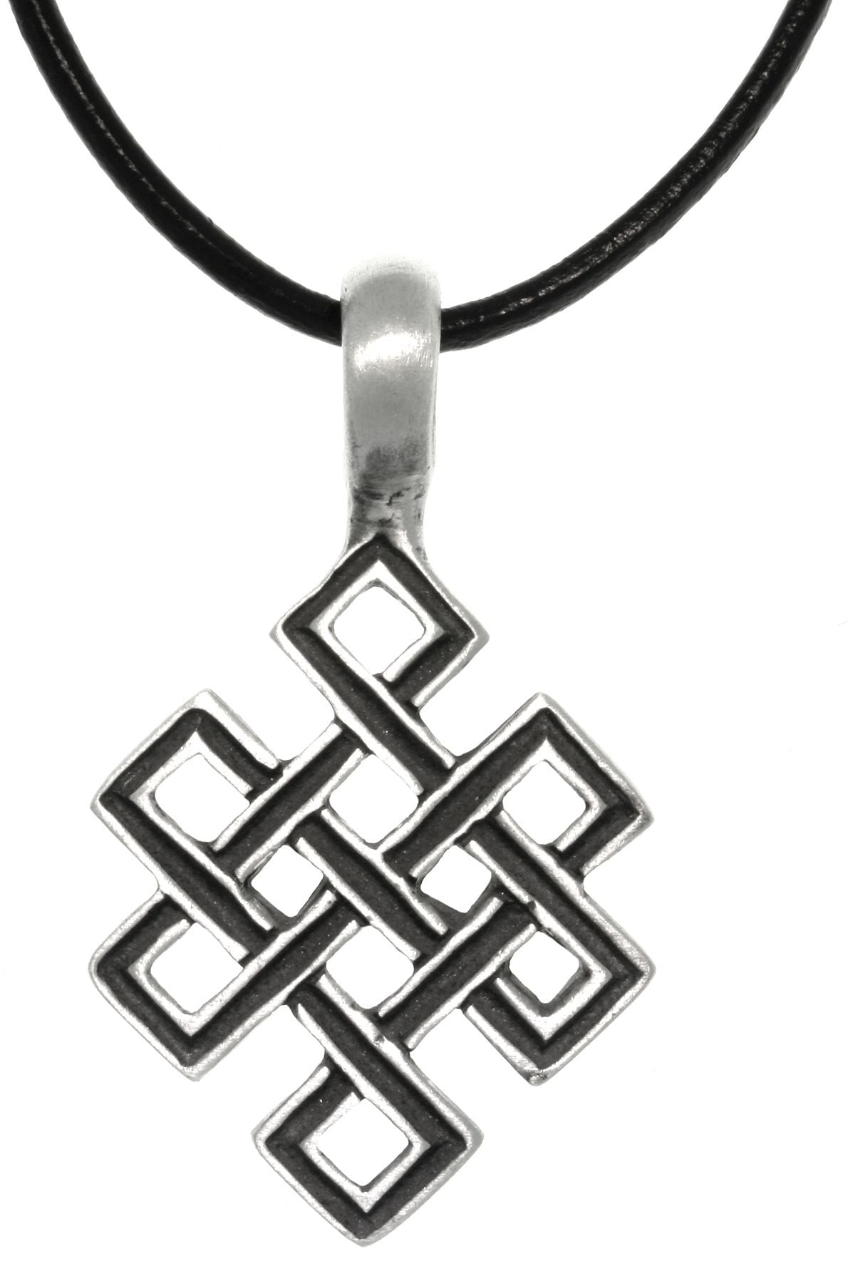 Jewelry Trends Pewter Celtic Open Square Knot Pendant on Black Leather Necklace