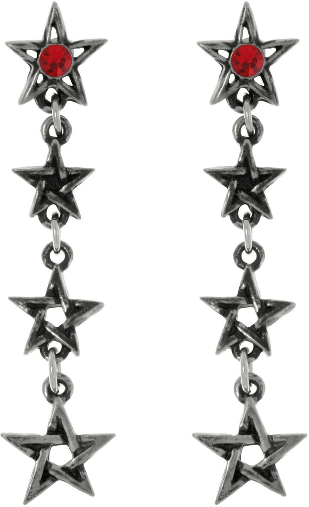 Jewelry Trends Pewter Four Star Links with Red Crystals Dangle Earrings