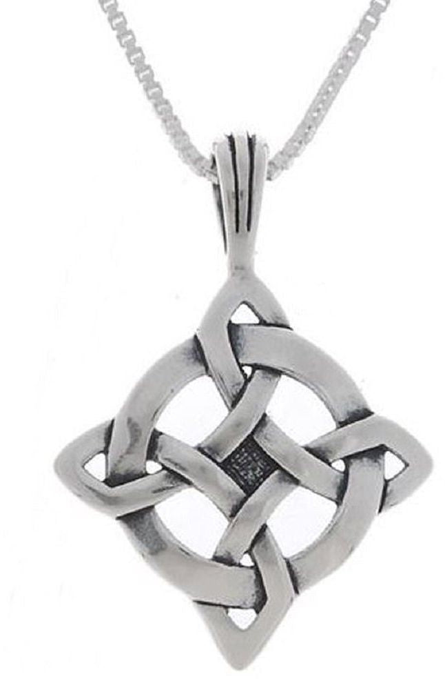 Jewelry Trends Sterling Silver Celtic Luck Pendant with 18 Inch Chain Necklace