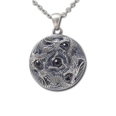 Jewelry Trends Pewter Trinity Dragon Round Pendant on 24 Inch Chain Necklace
