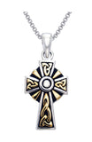 Jewelry Trends Sterling Silver and Gold-plated Celtic Trinity Cross Pendant on Box Chain Necklace Religious Gift