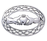 Jewelry Trends Sterling Silver Irish Claddagh with Celtic Knot Work Brooch Pin