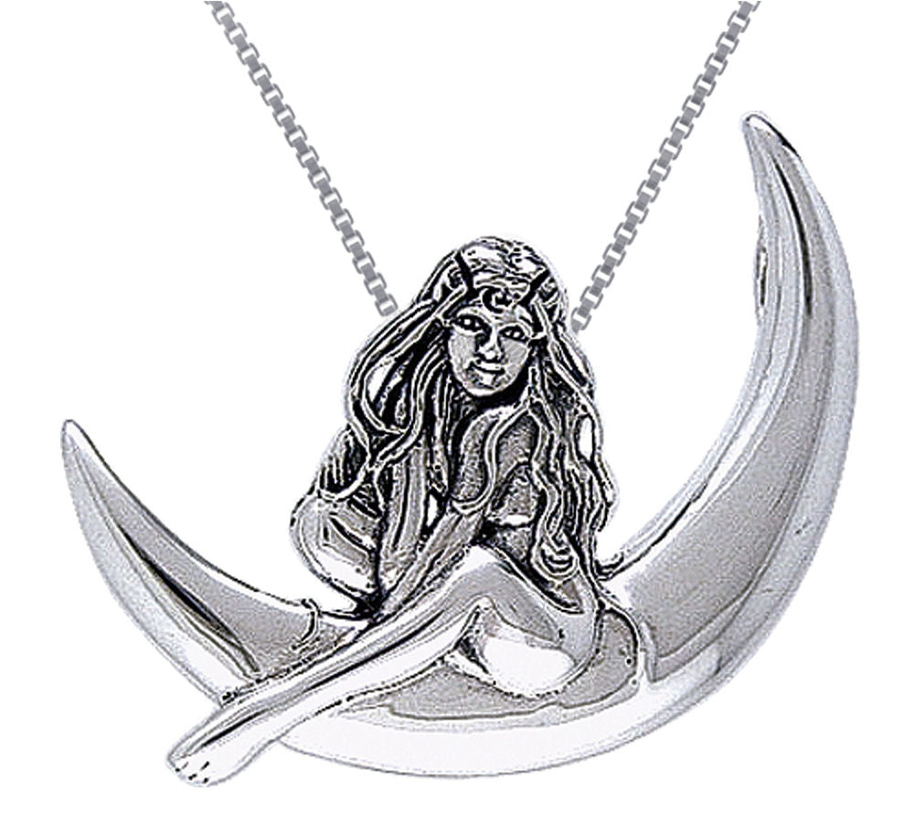 Jewelry Trends Sterling Silver Child of the Moon Fairy Pendant on 18 Inch Box Chain Necklace