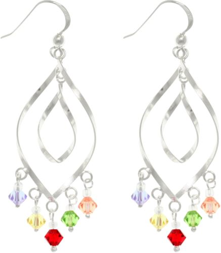 Jewelry Trends Sterling Silver With Multi Colored Crystal Glass Accent Chandelier Dangle Earrings