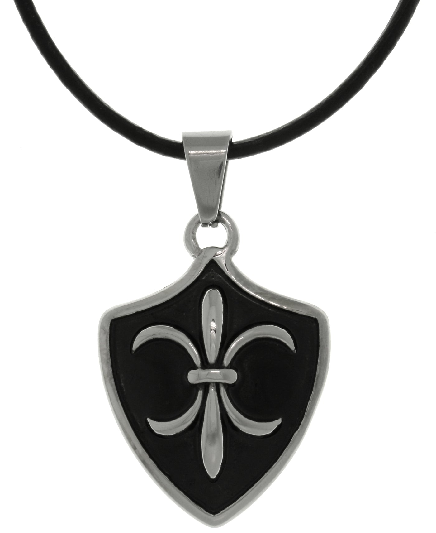 Jewelry Trends Stainless Steel Fleur De Lis Shield Pendant on Black Leather Necklace