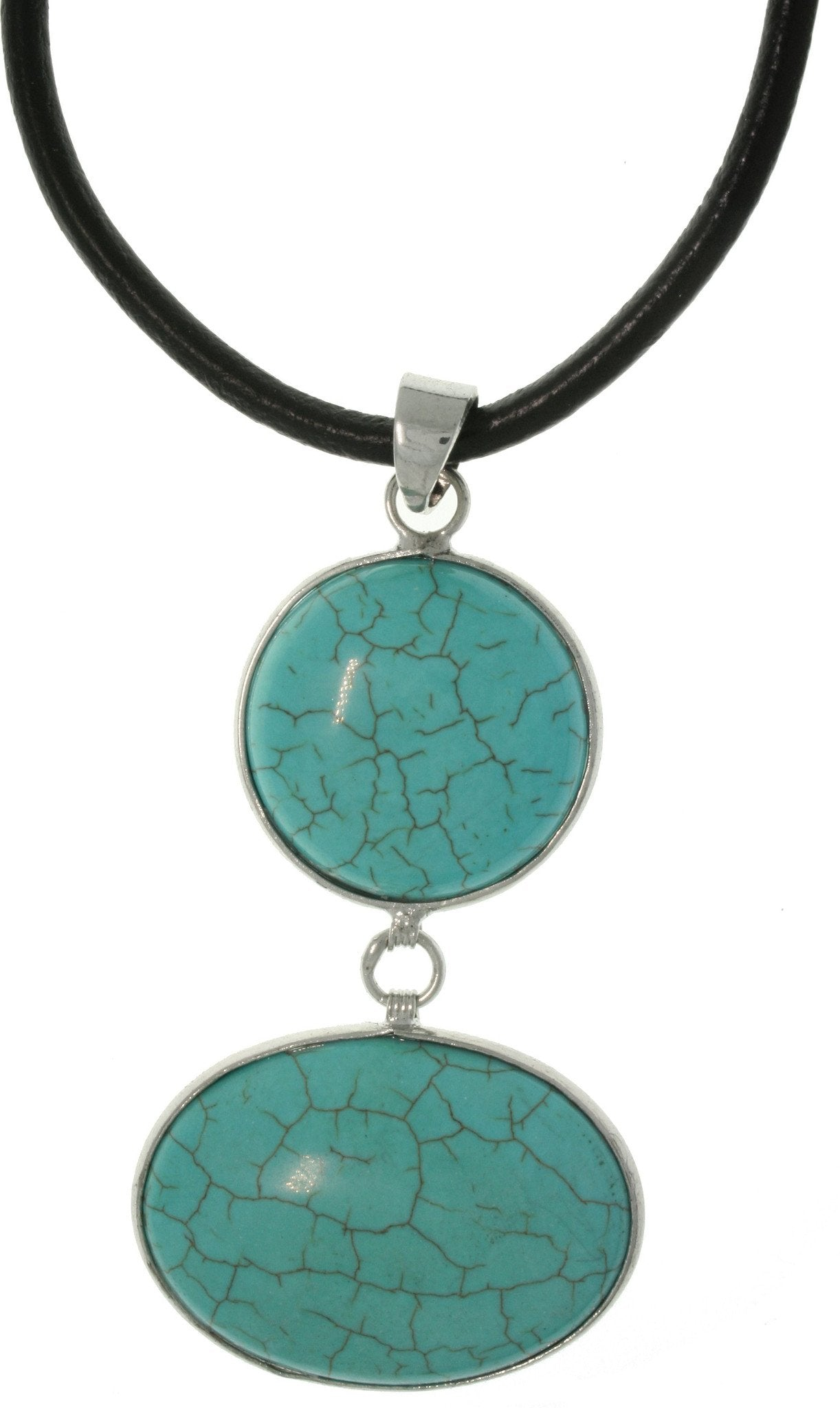 Jewelry Trends Silvertone Brass Blue Magnesite Double Stone Necklace