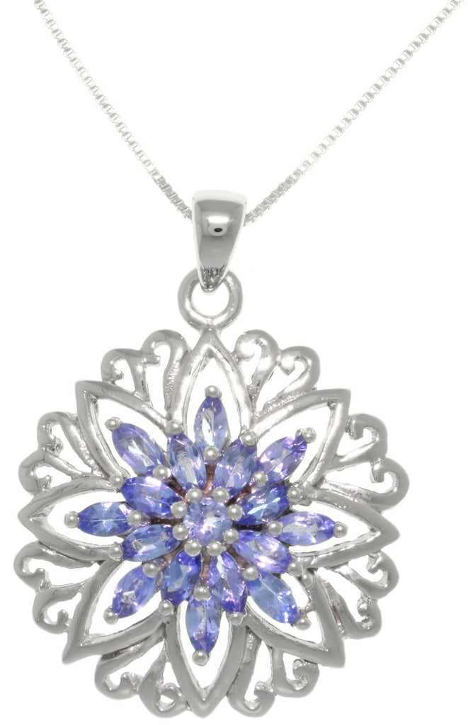 Jewelry Trends Sterling Silver Genuine Tanzanite Snowflake Star Pendant With 18 Inch Chain Necklace