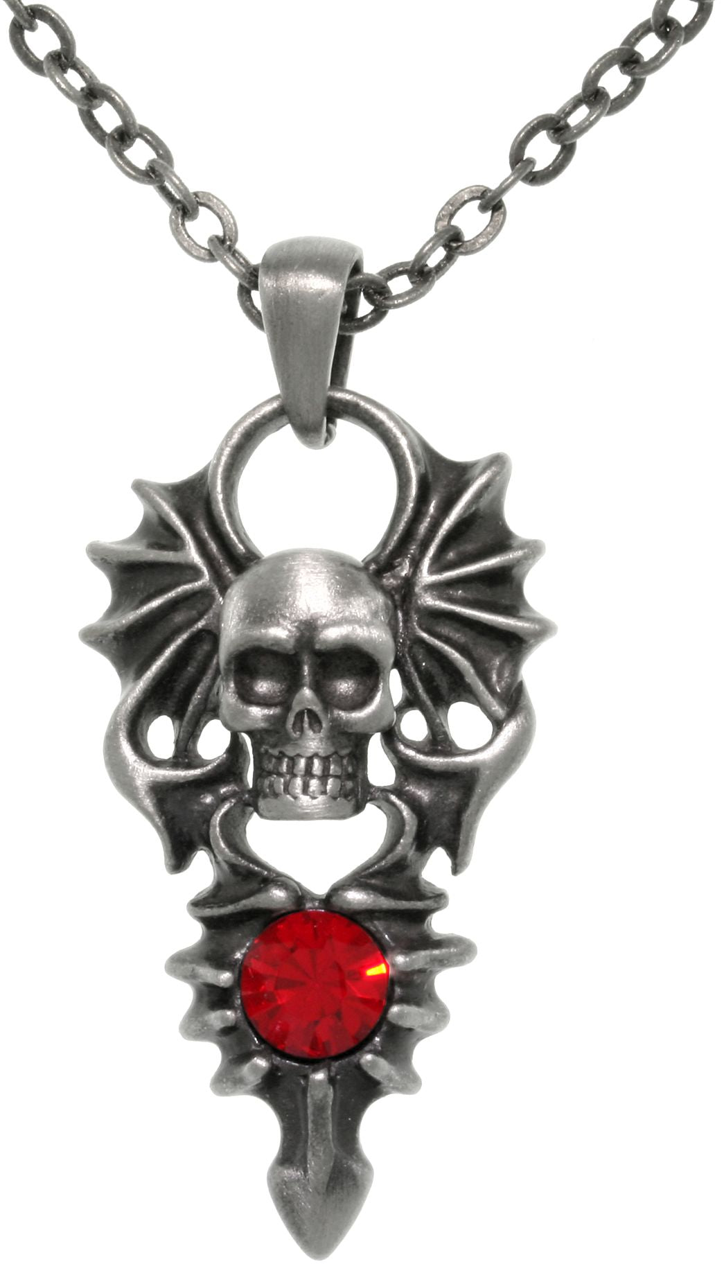 Jewelry Trends Pewter Winged Skull Pendant with Red Stone on 24 Inch Chain Necklace