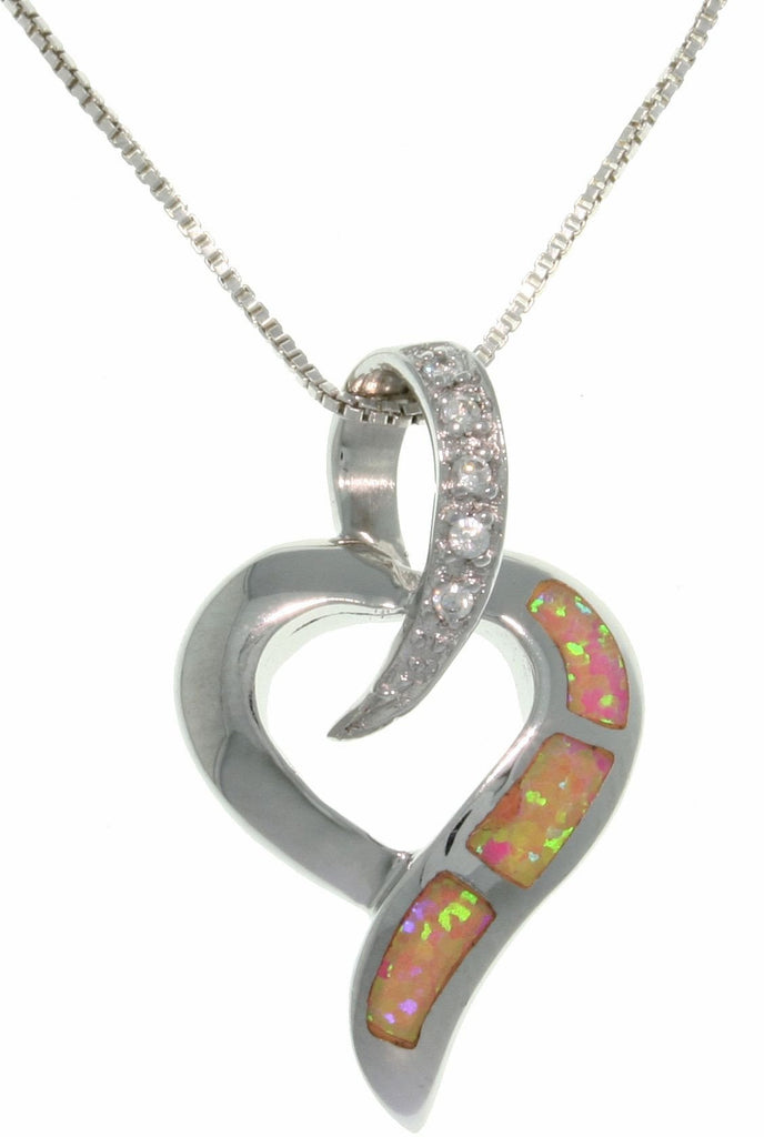 Jewelry Trends Sterling Silver Lab Created Pink Opal Open Heart Slide Pendant with Clear Pave CZ on 18 Inch Chain Necklace