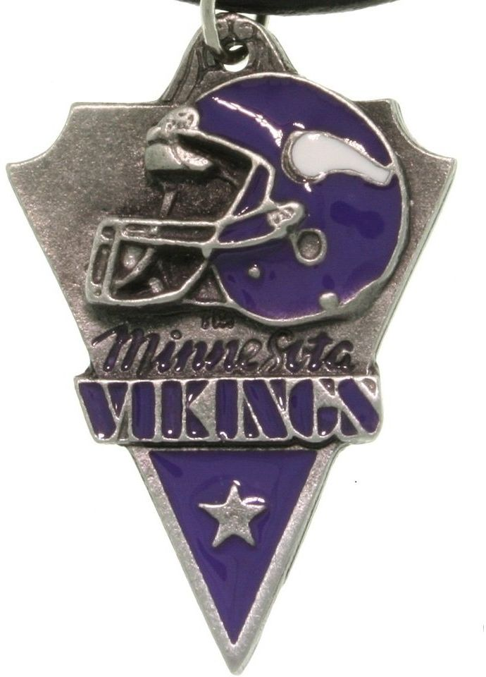 Jewelry Trends Pewter Minnesota Vikings NFL Pennant Pendant on Black Leather Necklace