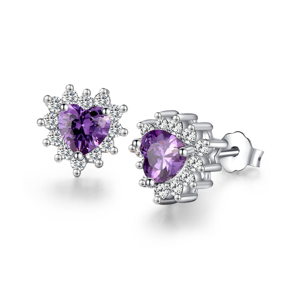 Jewelry Trends Sterling Silver Purple CZ Crystal Heart Stud Earrings with Clear CZ Crystals Prom Jewelry