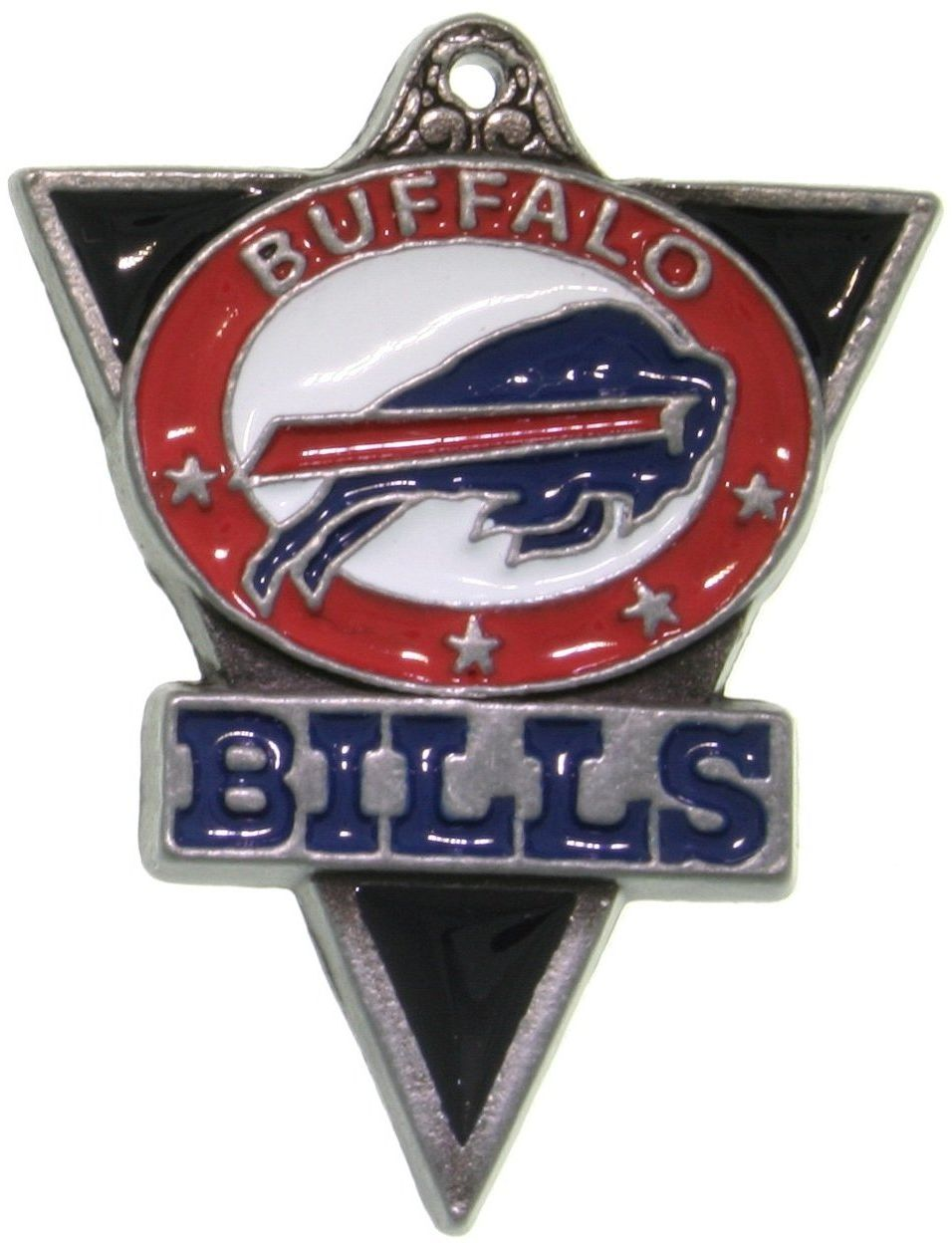 Jewelry Trends Pewter Buffalo Bills NFL Pennant Pendant on Black Leather Necklace