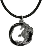 Jewelry Trends Pewter Dragon Round Pendant with 18 Inch Black Leather Cord Necklace