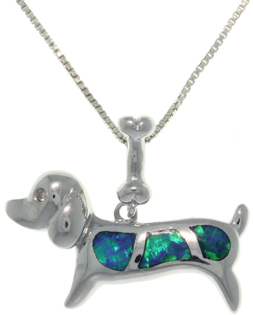 Jewelry Trends Sterling Silver Created Blue Opal Dog Pendant with 18 Inch Box Chain Necklace