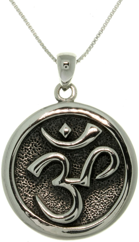 Jewelry Trends Sterling Silver Om Hindu Meditation Symbol Pendant on Box Chain Necklace