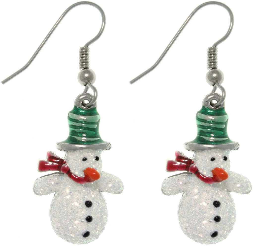 Jewelry Trends Pewter Glittery Snowman Dangle Earrings