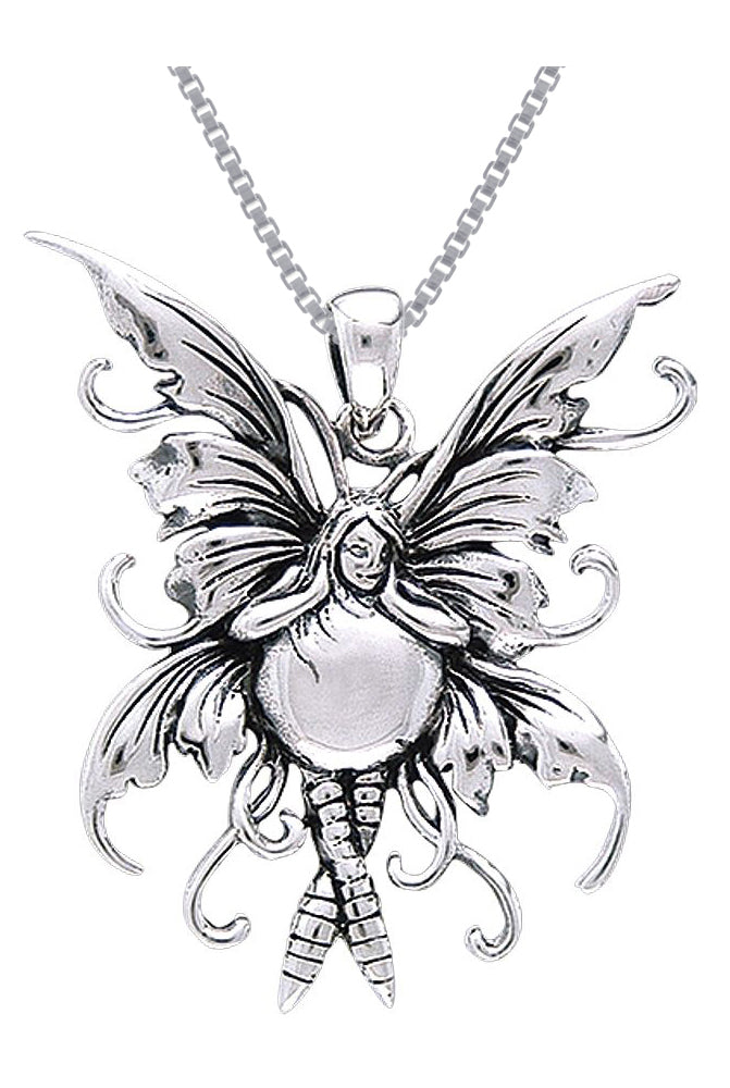Jewelry Trends Sterling Silver Bubble Rider Fairy Pendant on 18 Inch Box Chain Necklace